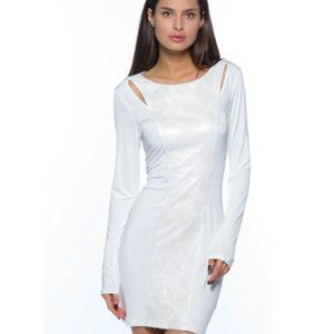 NWT White Sequined Center Front Midi Dress